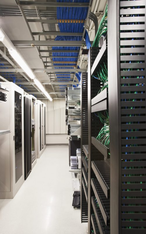 Computer servers in server room